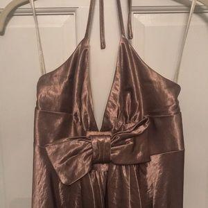 Jessica McClintock Dresses - Gold bow halter Jessica McClintock dress